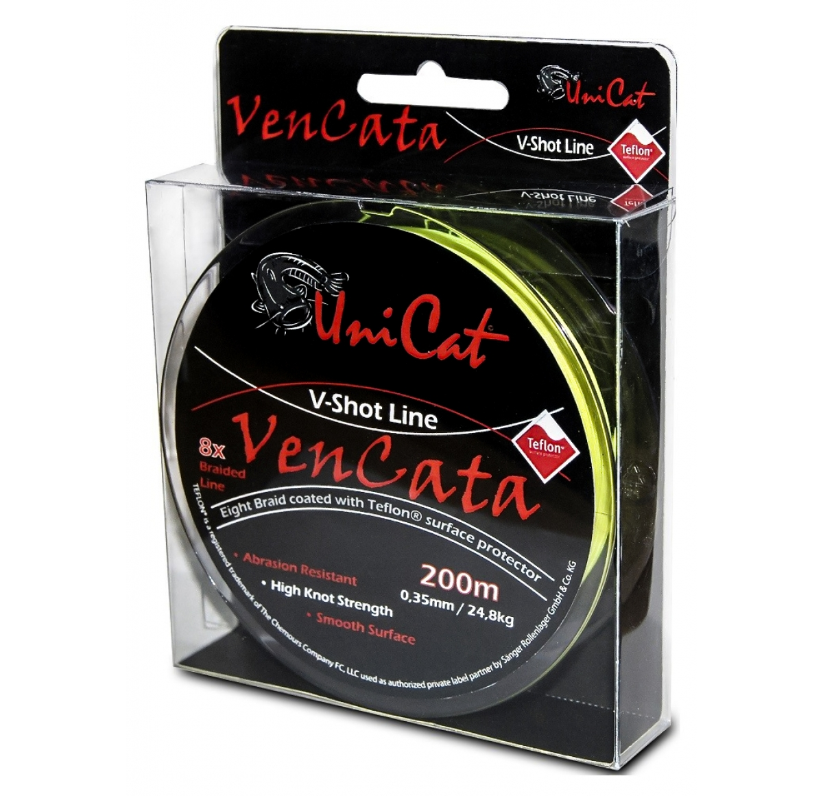 UNI CAT Vencata V Shot Line 8x 0.40mm 32.4kg Fluo Yellow 200m