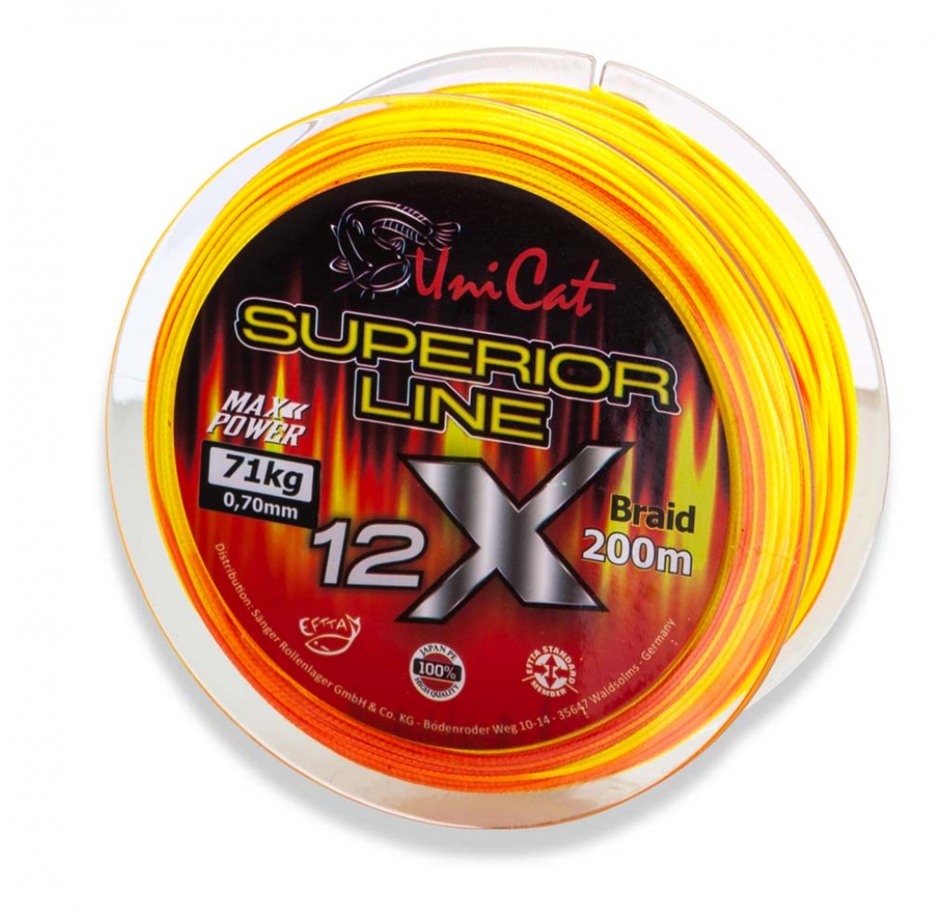 Braid UNI CAT 12 X Superior Line orange 0.70mm 71kg 200m