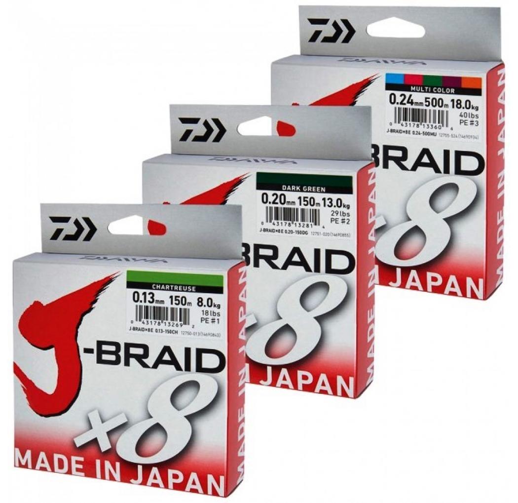 Daiwa J-Braid X8 0.10mm 150m dark green